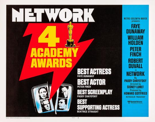 NETWORK, US lobbycard, bottom from left clockwise: Faye Dunaway, William Holden, Robert Duvall, Peter Finch, 1976